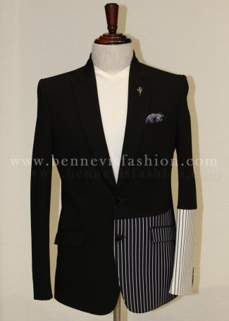 Mens Casual Black Blazer with Stripes