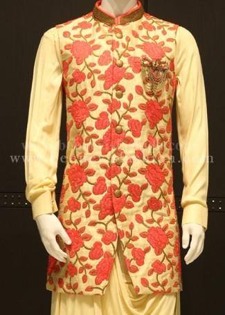 Fawn and Pink Floral Bandi Long Kurta Set For Men