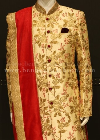 Gold and Maroon Sherwani for Wedding