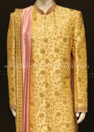 Golden Wedding Sherwani for Men
