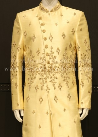 Fawn Color Embroidered Mens Sherwani