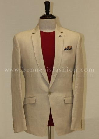 Casual Beige Linen Blazer