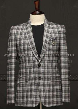 Mens Classic Grey Checkered Blazer