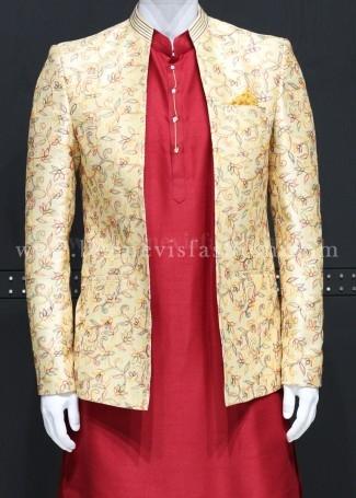 Fawn colour Jodhpuri Kurta Set For Men