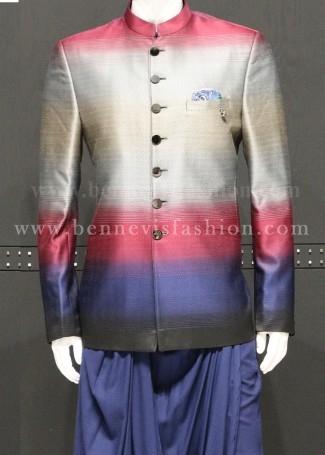 Multi Colour Jacquard Jodhpuri Kurta Set For Men