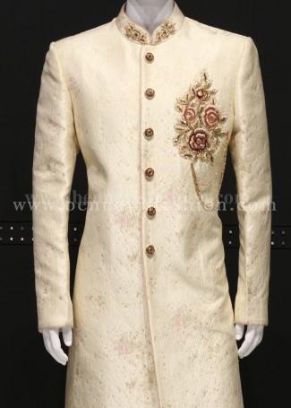 Fawn Colour Sherwani For Men