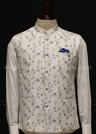 White Linen Bundi with Floral Print for Men