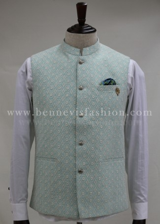 Mint Green Traditional Bundi for Men