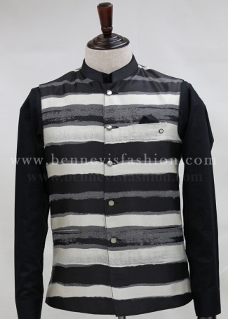 White and Black Bundi Jacket for Men