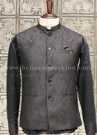 Black Jacquard Bundi for Men