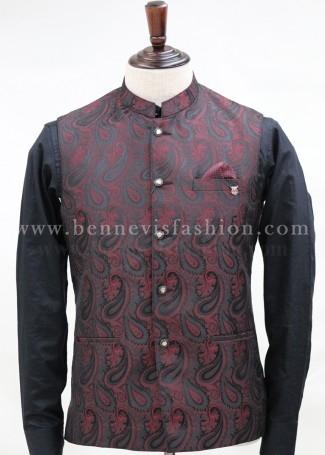 Black and Red Jacquard Bundi for Men