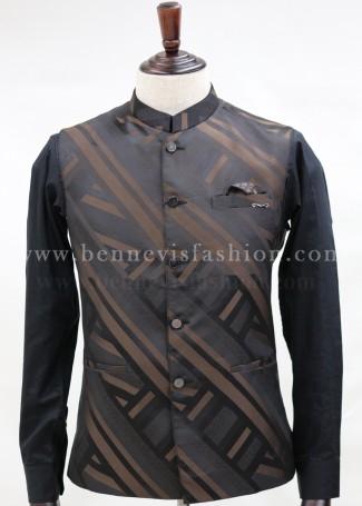 Black and Brown casual Bundi Jacket for Men.