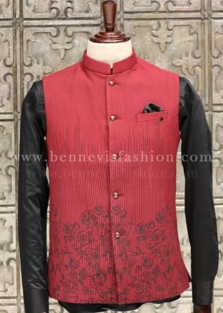 Stylish Red Bundi Jacket for Men