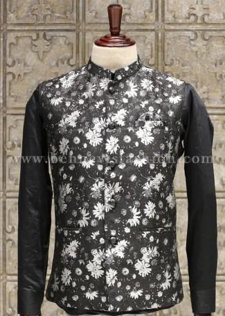 Black and White Floral Bundi for Men