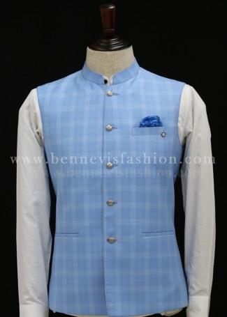 Sky Blue  Checks Bundi Jacket for Men