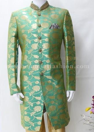 Green and Golden Indo Sherwani for Men