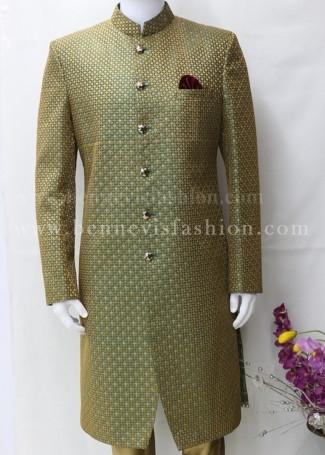 Green Classic Indo Western Sherwani for Men