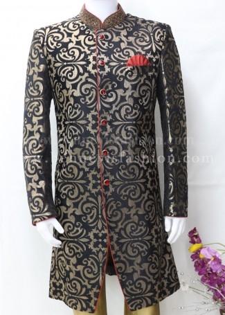 Black and Golden Indo Sherwani for Men