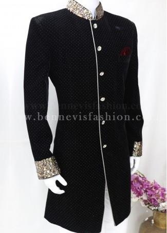 Classy Black Velvet Indo Sherwani for Men